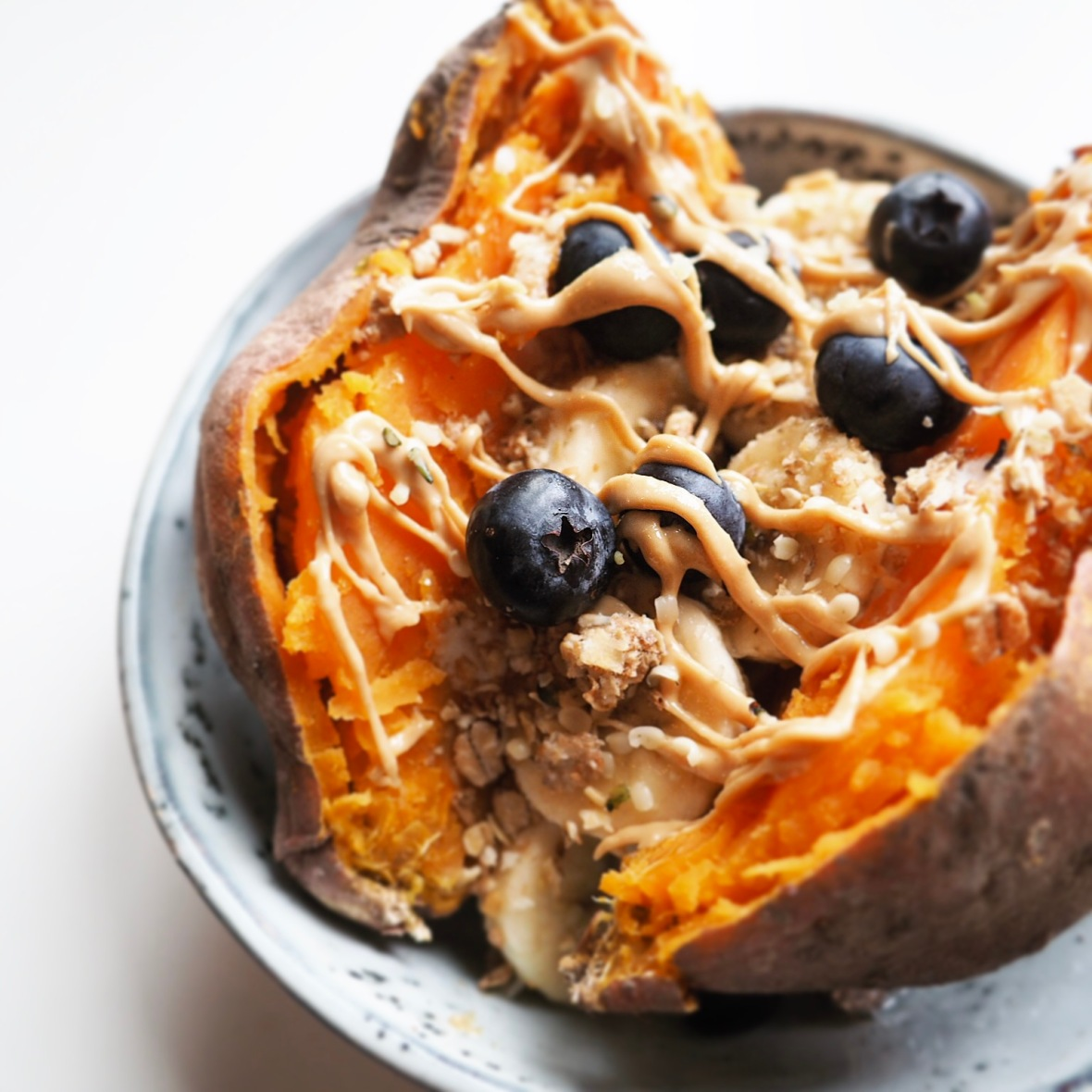 Sweet sweet potato dish banana blueberries