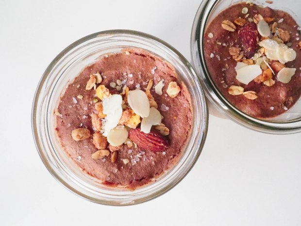Vegan Chocolate Mousse Bowls with Nuts and Salt