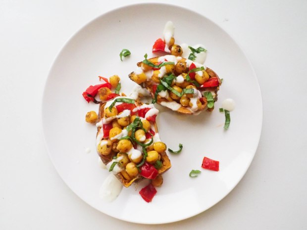 Chickpea Loaded Sweet Potato Vegan
