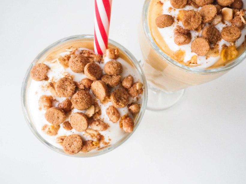Peanut Butter Pumpkin Pie Smoothie with Yogurt and Cookies