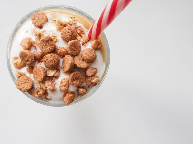 Peanut Butter Pumpkin Pie Smoothie with Yogurt and Cookies